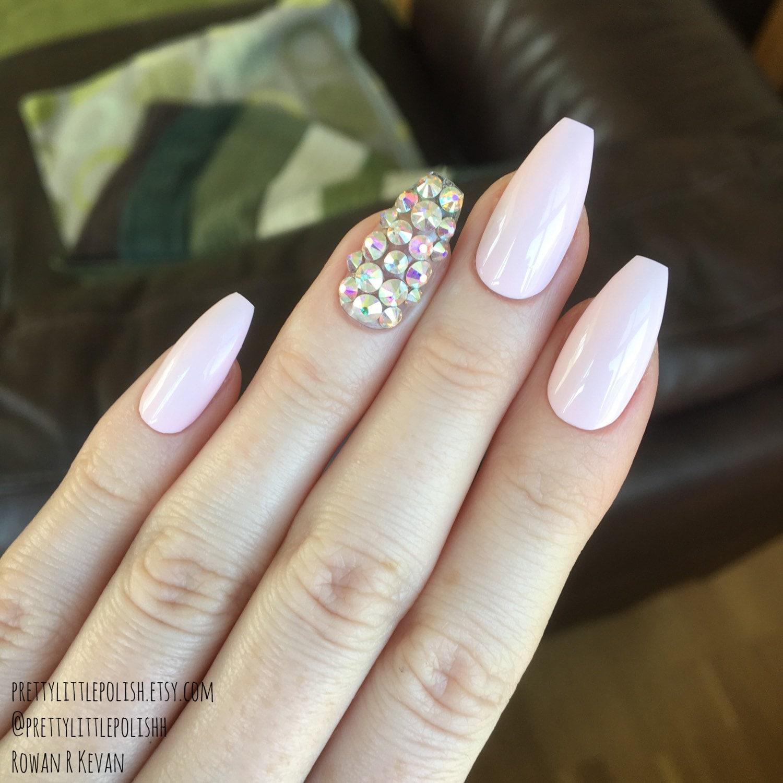 Coffin nails, Pink swarovski nails, Stiletto nails, Fake nails ...