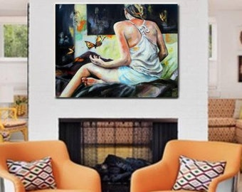 "Oil Painting. ""Epangelma"" . Peaceful Wall Decor , Impressionistic , Butterfly Decor , Figurative Art"