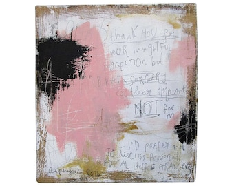 Brain surgery is not for me. Acrylic paint and ink on reclaimed wood. 12 x 12cm. (5 x 5 inches.)