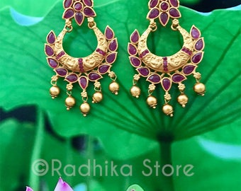 Antique Look Crescent Earrings - With Swinging Ruby Chakra