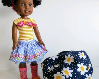 14 inch Doll Furniture for Wellie Wisher Doll; Bean Bag Chair; Chair for Wellie Wisher Doll