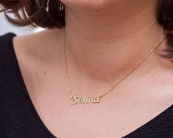 14K Gold Name Necklace, Personalized Necklace, Available in 14k Gold, White Gold or Rose Gold