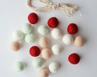 Felt Ball Garland Kit Blush Mint Dark Red White DIY Garland 20 2.5 cm Felt balls + 3 yds Twine