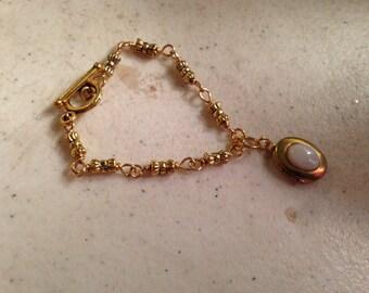 Gold Bracelet - Locket Jewelry - White Agate Gemstone Jewellery - Charm