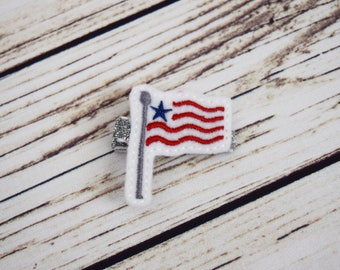 Handcrafted Flag Feltie Clip - Red White Blue Silver - July 4th Bow - Christmas Baby Stocking Stuffers - Small Hair Clip - Toddler Hair Bows