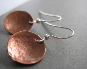 Copper Earrings, Copper Dome Hammered Earrings, Handmade Metalwork Copper Earrings Jewelry
