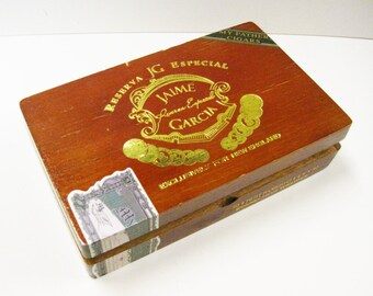 Wood Cigar Box Dovetailed Box Gold Lettering Artist's Sketch Box Craft Supply Jewelry Box Supply My Father's Cigars Especial Jaime Garcia