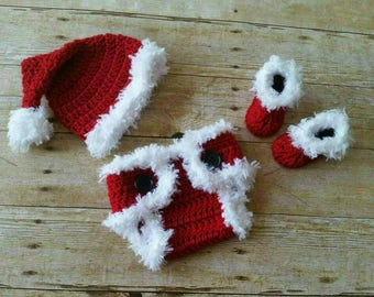 Christmas Baby Outfit, Crochet Baby Outfit, Newborn Santa Outfit, Baby Photo Prop, Newborn Photo Outfit, Newborn Boy Photo Outfit Clothes