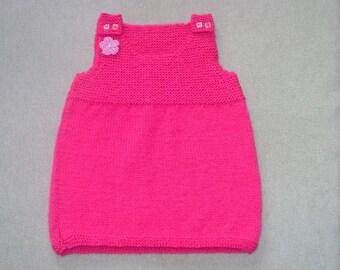 Pink Baby Pinafore Dress, Baby Dress, 9-12 Month Baby Dress, Knitted Baby Dress, Hand Knitted, Baby Pinafore, Handmade Pink Baby Dress,