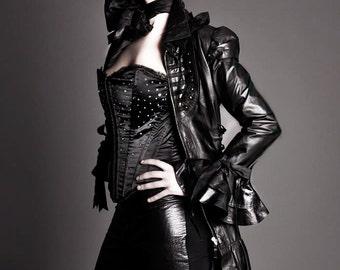 Black Luxury Leather Corset Steampunk Victorian Burlesque Couture Dress Coat