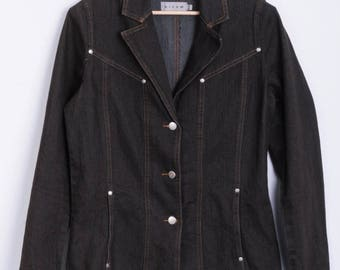 Micha Womens 36 S Blazer Jacket Denim Jeans Brown Cotton Vintage 90s