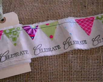 Fabric Ribbon with Bunting Flags in Bright Colors