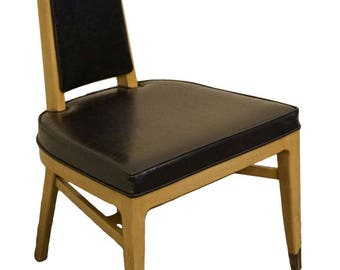 WHITE of MEBANE Black Naugahyde and Pewter Dining Side Chair 7500