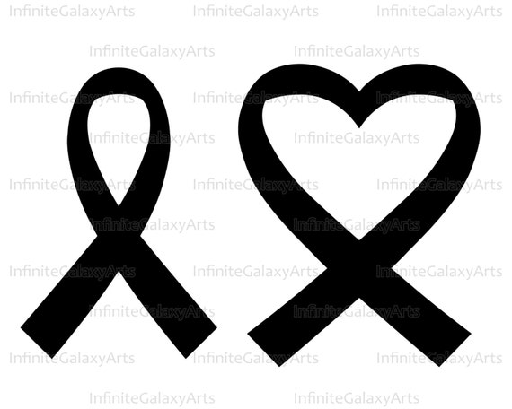 Heart Cancer Ribbon Digital Cutting Files For Silhouette Cameo And