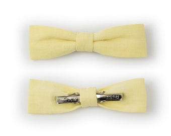 Kids Yellow Skinny Bow Tie Clip-On  | Theo