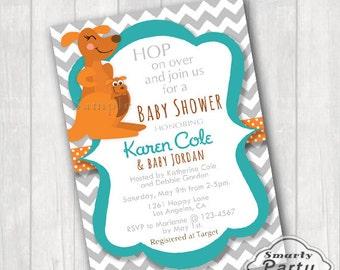 Kangaroo Baby Shower Invitations Invite You Print Printable Personalized Teal Aqua Orange 5x7 or 4x6