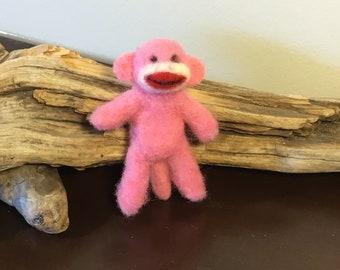 "Needle Felted ""dog toy"" sock monkey sculpture"