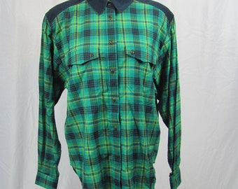 Vintage Womens 90s Cute Green Plaid And Corduroy Button Down Top