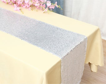 Pack of 5 Silver Glitter Sequin Table Runners Engagement Wedding Banquet Ceremony Feast Birthday Anniversary Party Venue Dining Table Decor