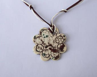 Ceramic pendant flower Pansy red glaze with highlights Ecru, green print