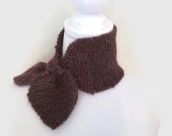 Alpaca Scarf, Pure Wool Scarf, Rusty Purple/Brown Maroon Scarf, knitted Scarf,