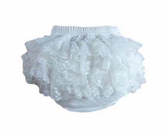 White Bloomers,Infant Bloomers, Girls Diaper cover, Baby Bloomers, Newborn Diaper Cover - White Diaper Cover, Ruffled Bloomers