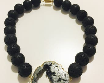 Volcanic Lava Black Drusy Necklace