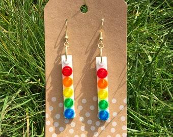 Upcycled RAINBOW Circles Dangle LEGO Earrings