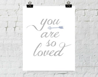 You Are So Loved, Purple, Arrow Print. Typographic, Home Decor Art. Instant Digital Download. Printable Wall Art - ADOPTION FUNDRAISER