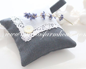 Handmade Dried Lavender Sachet with Vintage Doilie Motif and Mother of Pearl Button, Gifts for Her