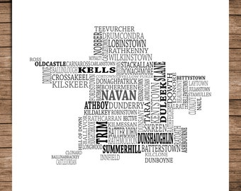Meath - Typographical Map of County Meath, Ireland