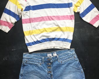 Vintage Whitney's Striped 3/4 length sleeve top