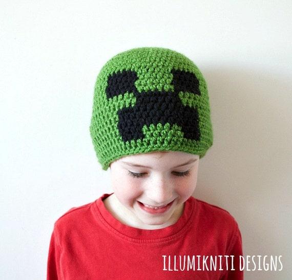 Kids Winter Hat Kids Creeper Hat Kids Minecraft Hat Kids
