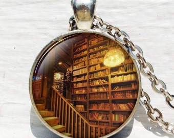 Antique book pendant ,Shabby Bookshelf necklace, book pendant book jewelry book jewelry librarian gift book lover gift book necklace