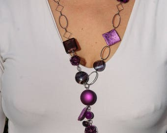 Purple necklace offset with chain