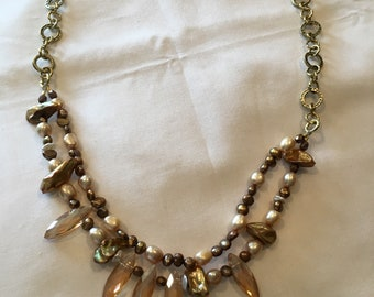 Freshwater Pearl and Antique Gold Necklace