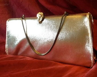 1950's Gold Clutch with Rhinestone Clasp