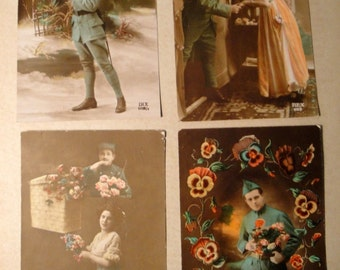 Lot of 4 Antique French Postcards early 1900's Hand Tinted (#3)