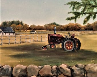Original Oil Painting Tractor in a field Martha's Vineyard