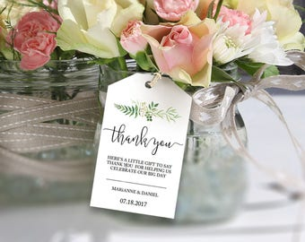 Greenery wedding thank you tag, printable label template, favor bag welcome tag, bridal gift idea | Woodland greenery