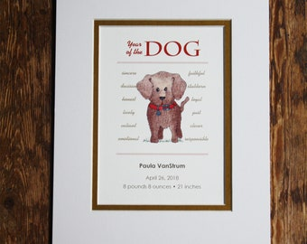Year of the Dog 2018 Chinese New Year. Personalized Print for New Baby. Custom Print. Customized, Matted.