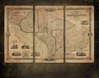 "Vintage Map of Washington DC Metal triptych 36x24"" FREE SHIPPING"