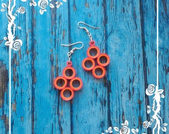 Paper Quilled Double Color Earrings, paper quilling earrings, quilled earrings, paper jewelry, Double Color Earrings, handmade