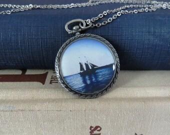 Ship Necklace / Boat Necklace / Hope Necklace / Sailing Necklace / Resin Pendant / Antiqued Silver Necklace / Pocket Watch Pendant