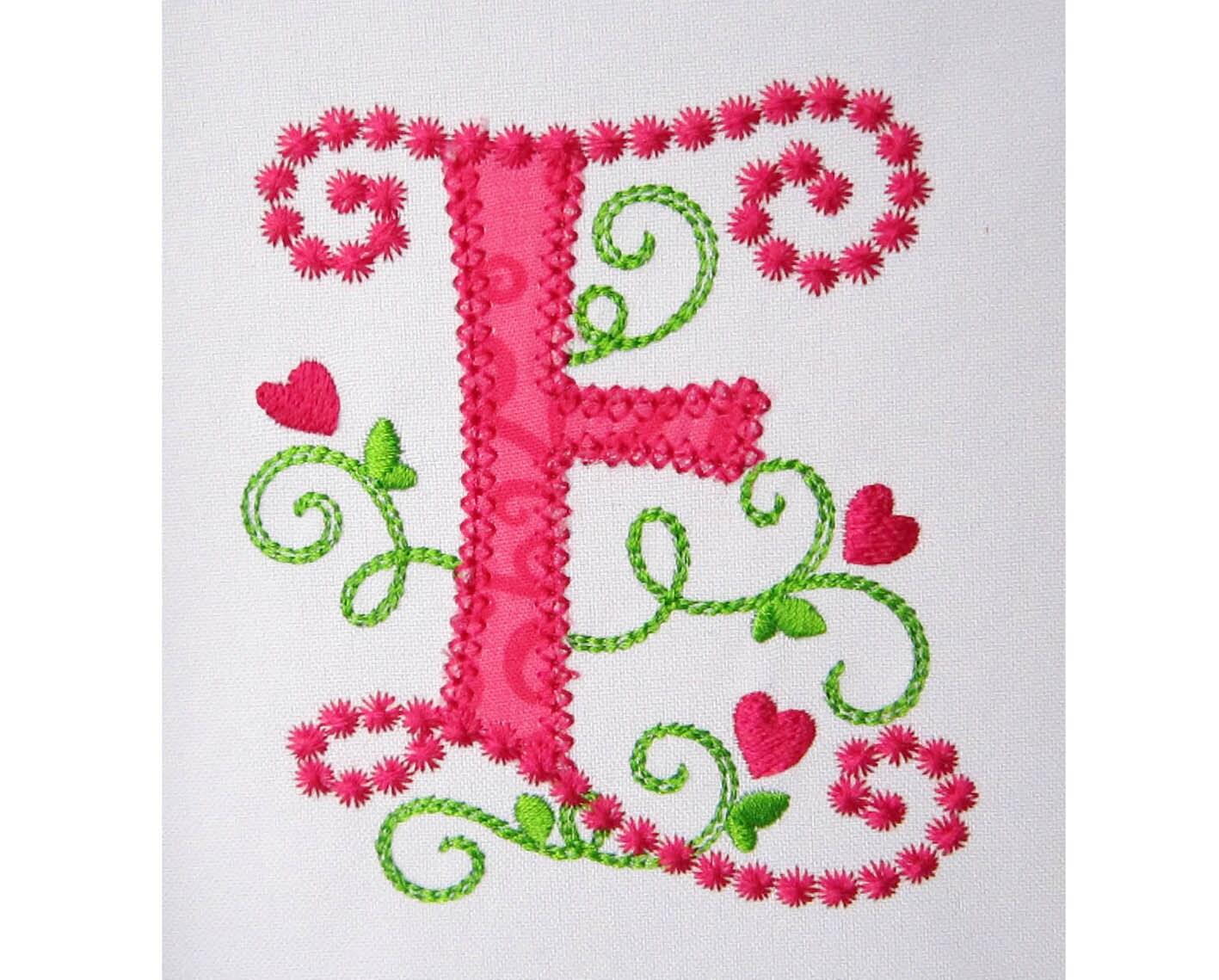 Cute Letter E Alphabet for Lil Princess Hearts Applique Embroidery ...