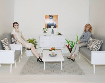 1:6 scale, living room, diorama, Barbie size, BJD, doll, action figures, Blythe, Momoko, sofa, chairs, coffee table, sideboard, mid century.