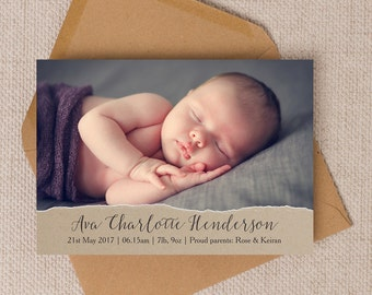 Personalised Photo Rustic Kraft & Calligraphy Baby Birth Announcement Cards