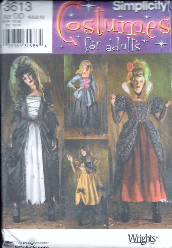 Simplicity 3616 Adults Costume Sewing Pattern Gypsy Vampire Wench ...