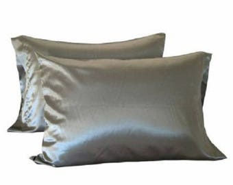 2pc New Queen/Standard or King Silky Satin Pillowcase, Multiple Colors