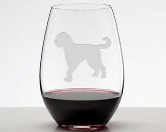 Golden Doodle Gift, Golden Doodle Wine Glass, Etched Stemless Wineglass